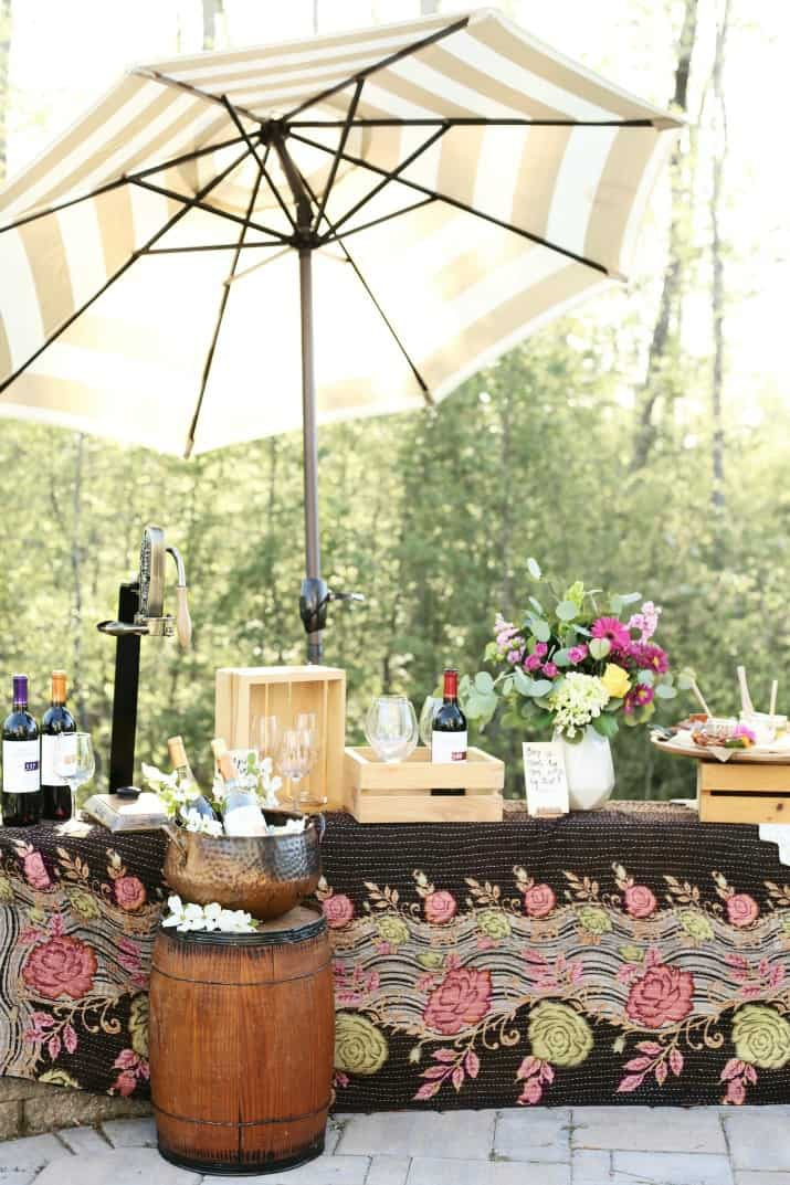 Wine Tasting party with DIY Sandwich Bar patio setting