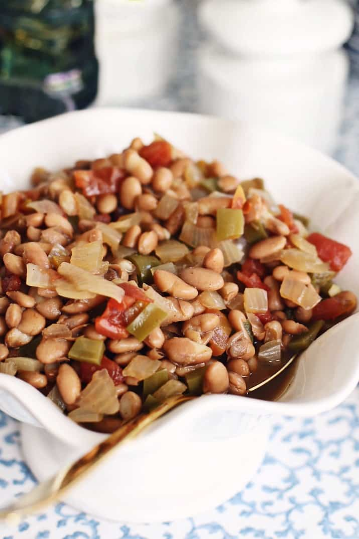 southern style pinto beans recipe in white bowl