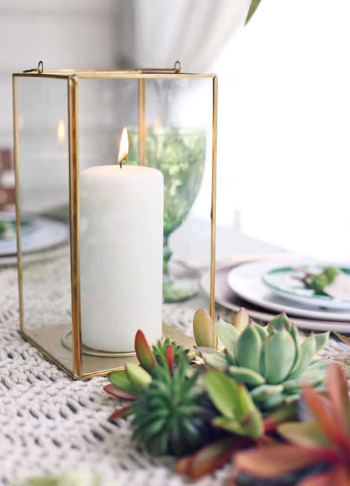 Green Dinner Party Tablescape lantern centerpiece