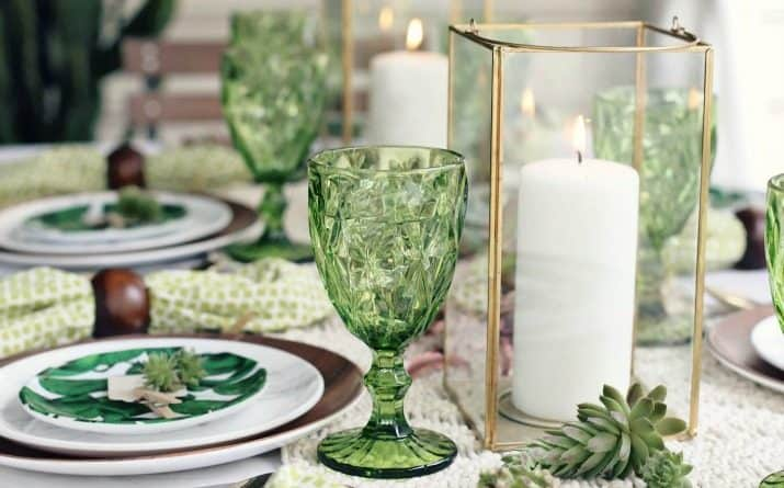Green Dinner Party ideas with a Tropical Boho theme