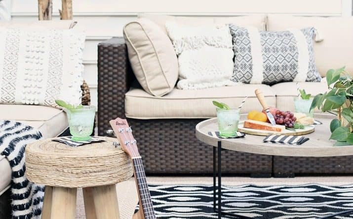 Black & Tan Patio Decor with Greenery