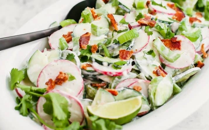Creamy Crunchy Cucumber Salad with Bacon