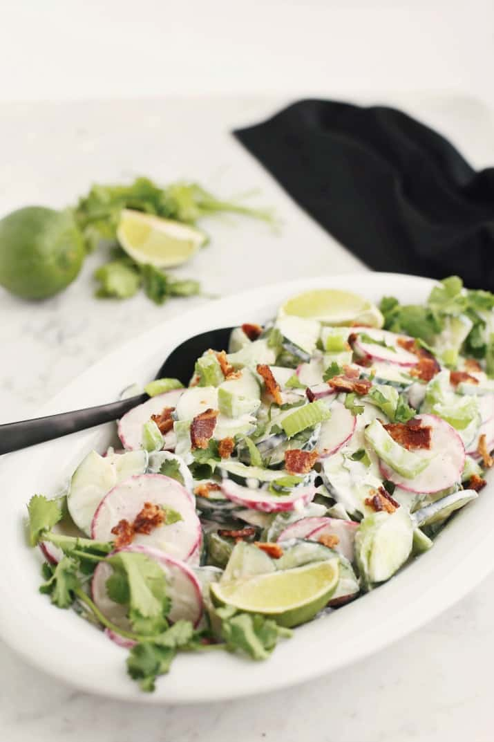 crunchy cucumber salad with bacon; side dish
