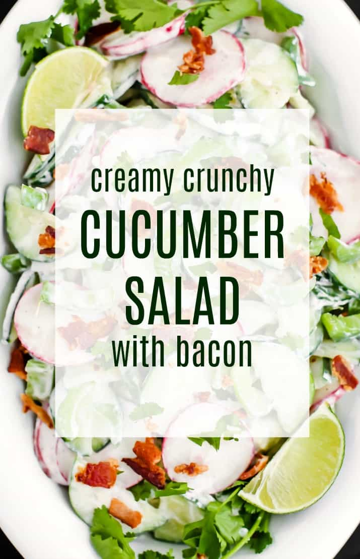 crunchy cucumber salad with bacon closeup with text overlay