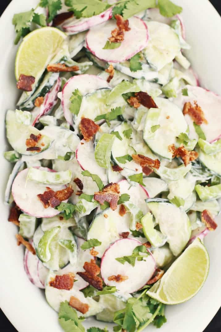 crunchy cucumber salad with bacon, top view