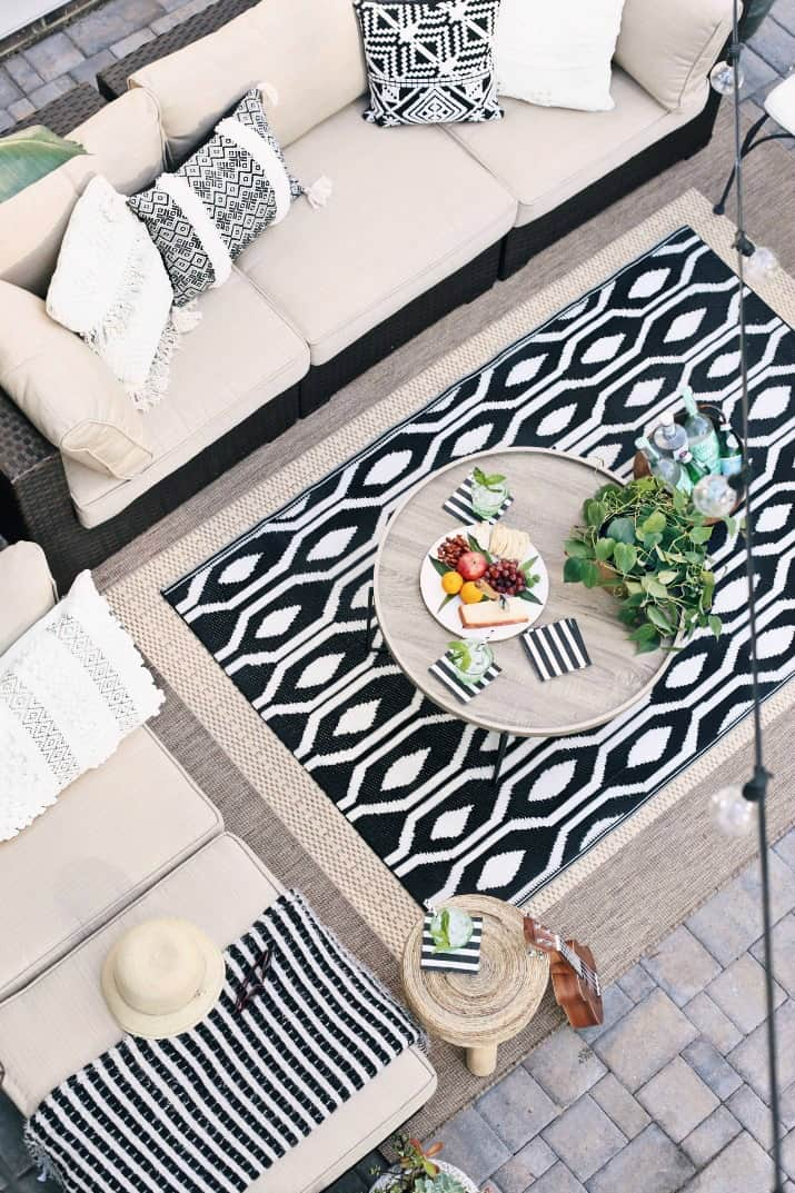 black & tan patio decor for living and entertaining, top view