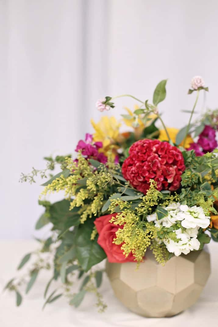 flower centerpiece for a laid back dinner party