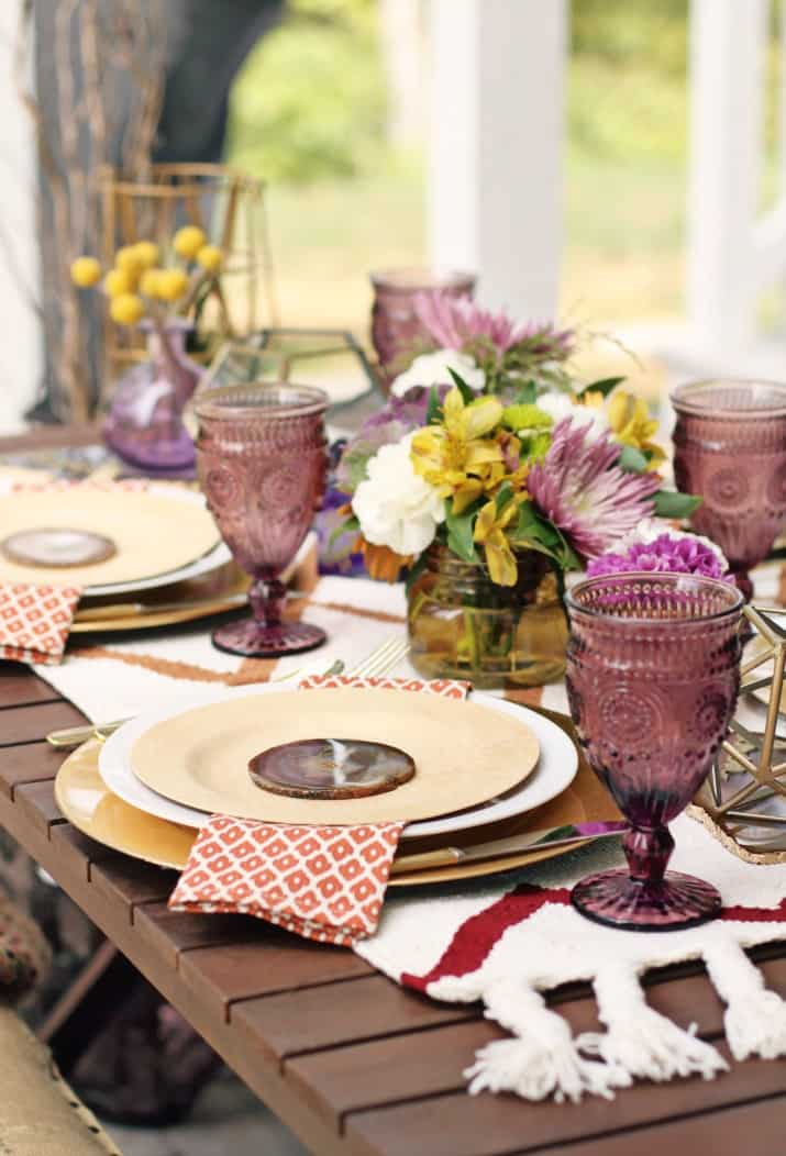 fall tabletop design, fall dinner party tablescape in purple and orange