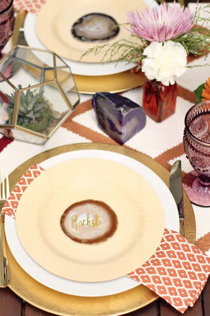 fall tabletop design - fall dinner party place settings