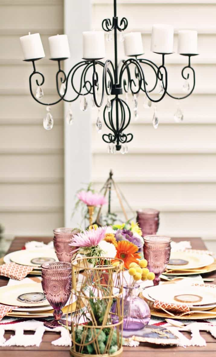 fall tabletop design, tablescape on patio with chandelier above