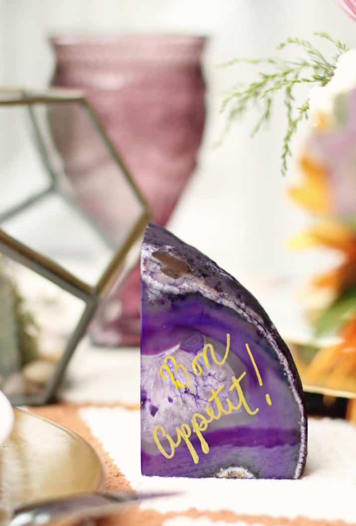 fall tabletop design, bon appetit written on purple rock