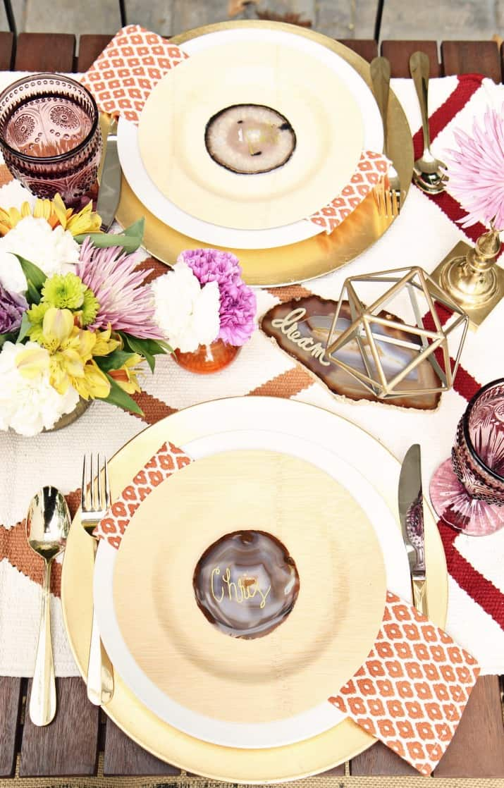fall tabletop design - fall tablescape place settings with names written on quarts coasters