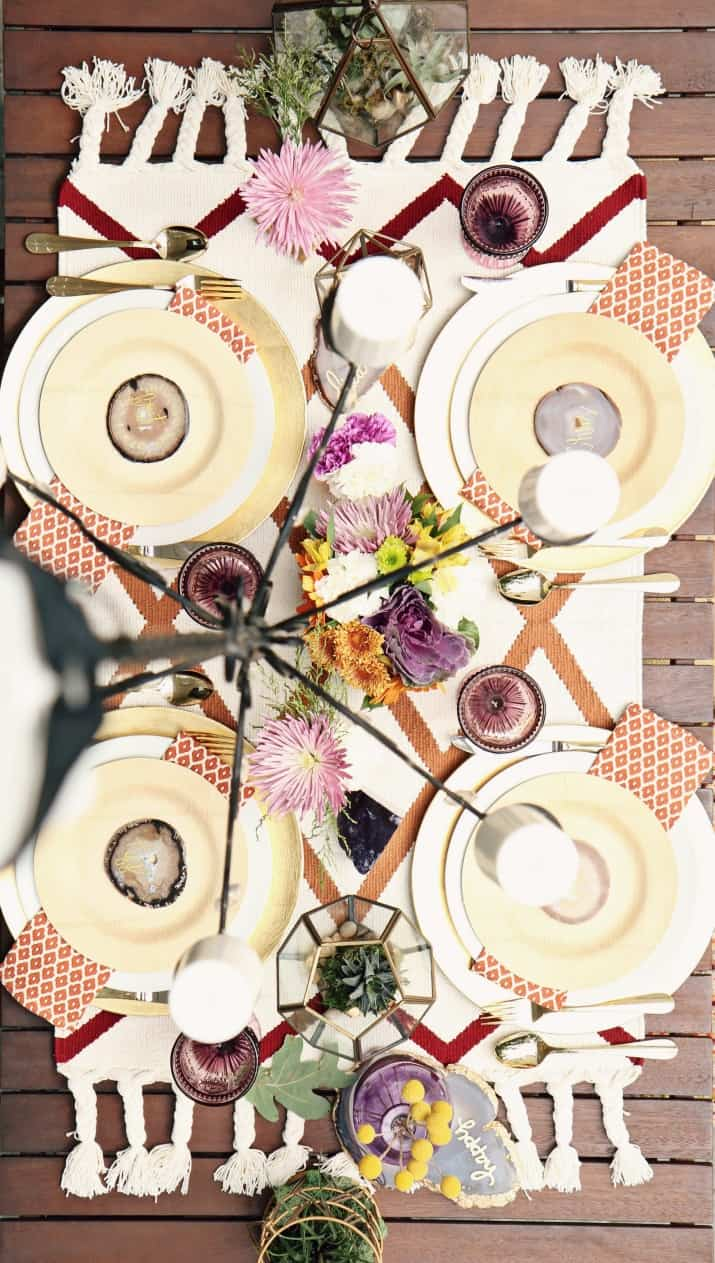 fall tabletop design, fall tablescape with rug as runner, birds eye view