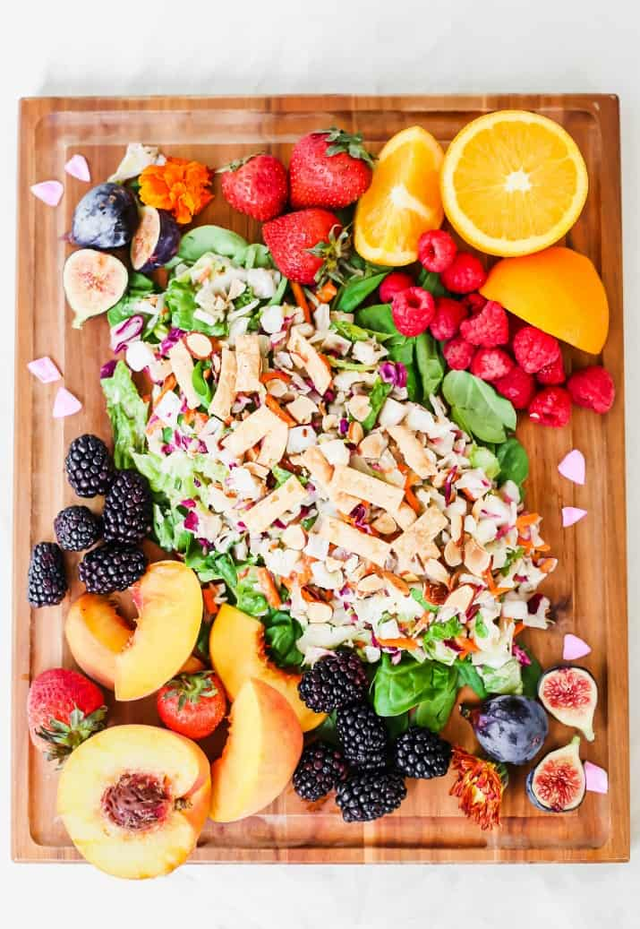 salad board and fruit