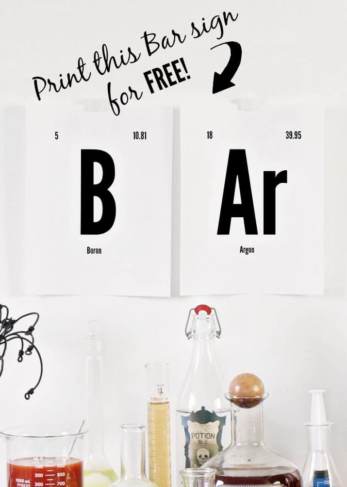 FREE printable Halloween bar sign