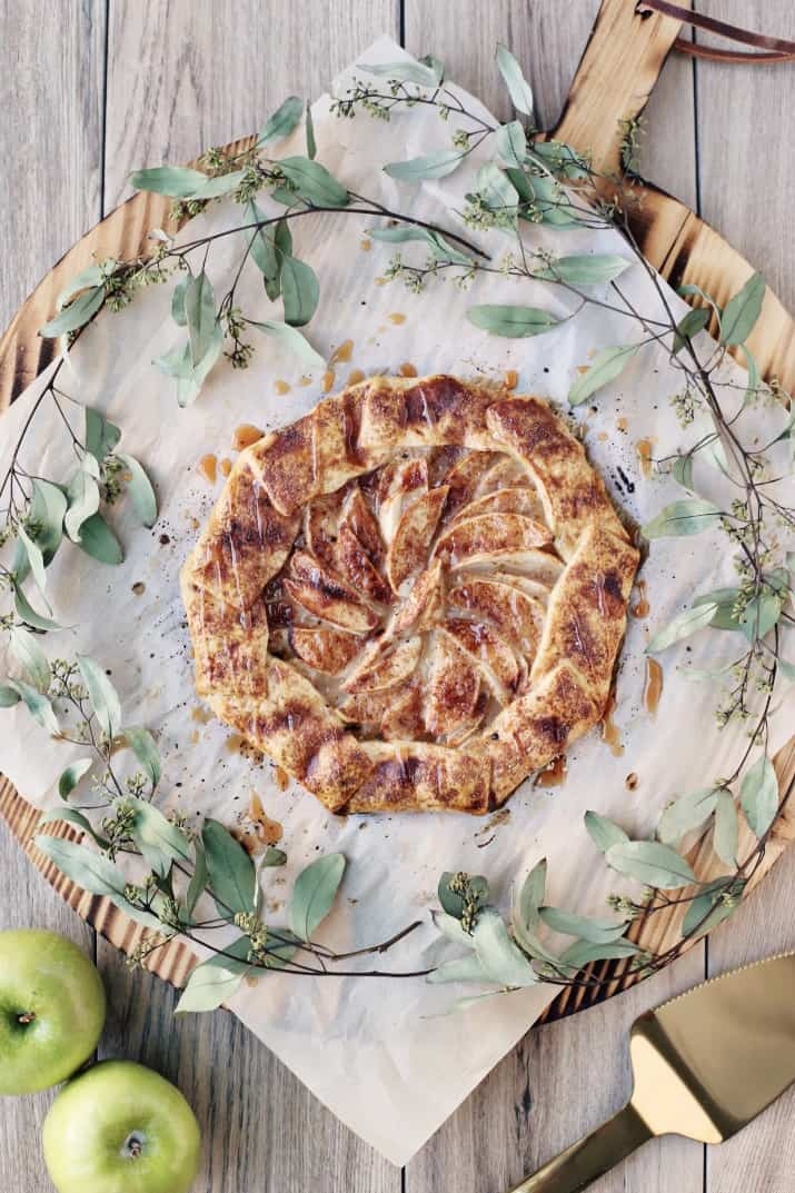 rustic apple galette with caramel drizzle recipe, top view