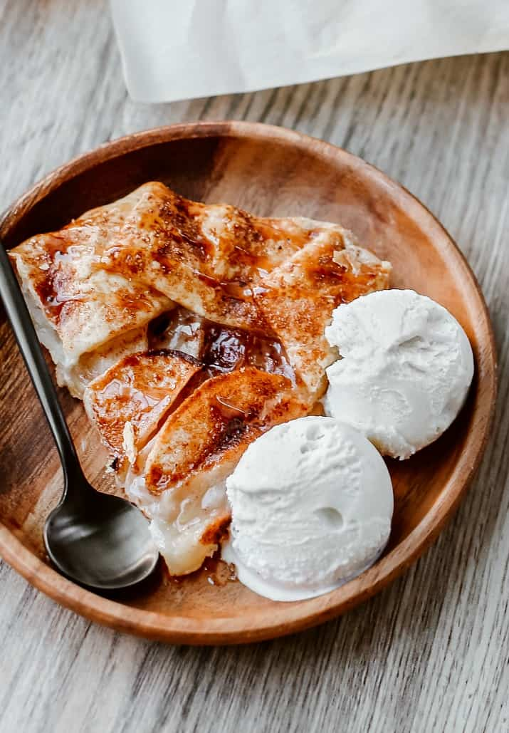 slice of apple galette with caramel drizzle