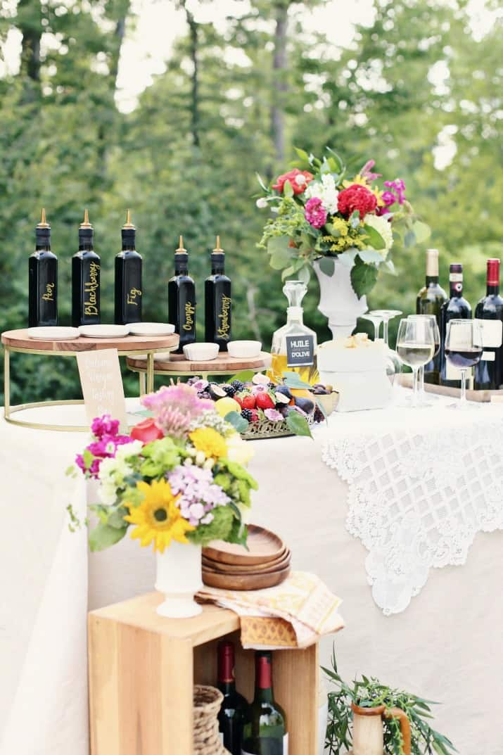 balsamic vinegar tasting bar party table