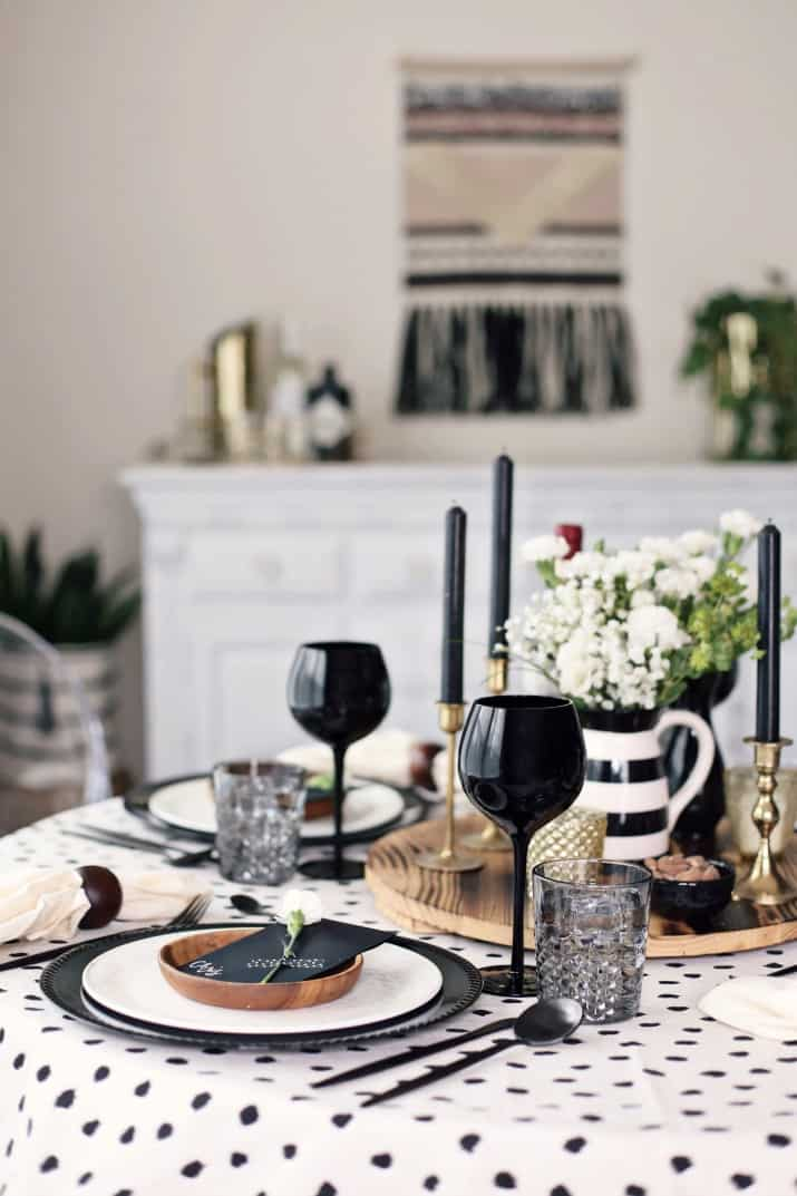 Fall Dinner Party Black & Tan Tablescape & Menu, tablescape view