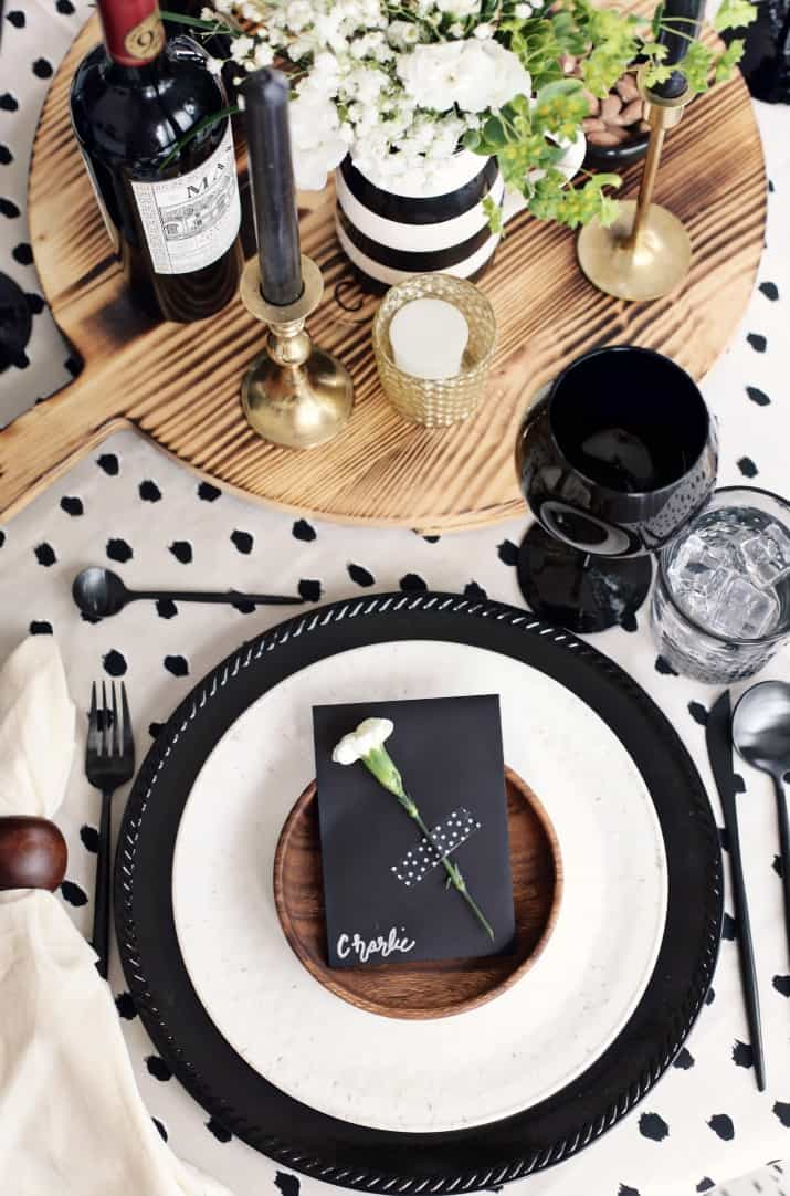 Fall Dinner Party Black & Tan Tablescape & Menu, black & tan place setting top view