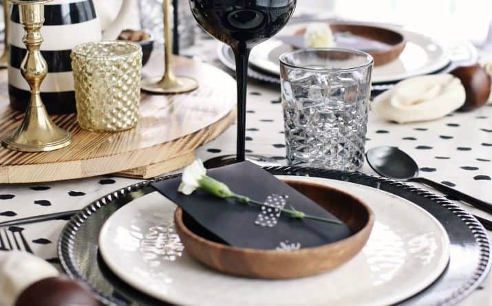 Fall Dinner Party Black & Tan Tablescape & Menu