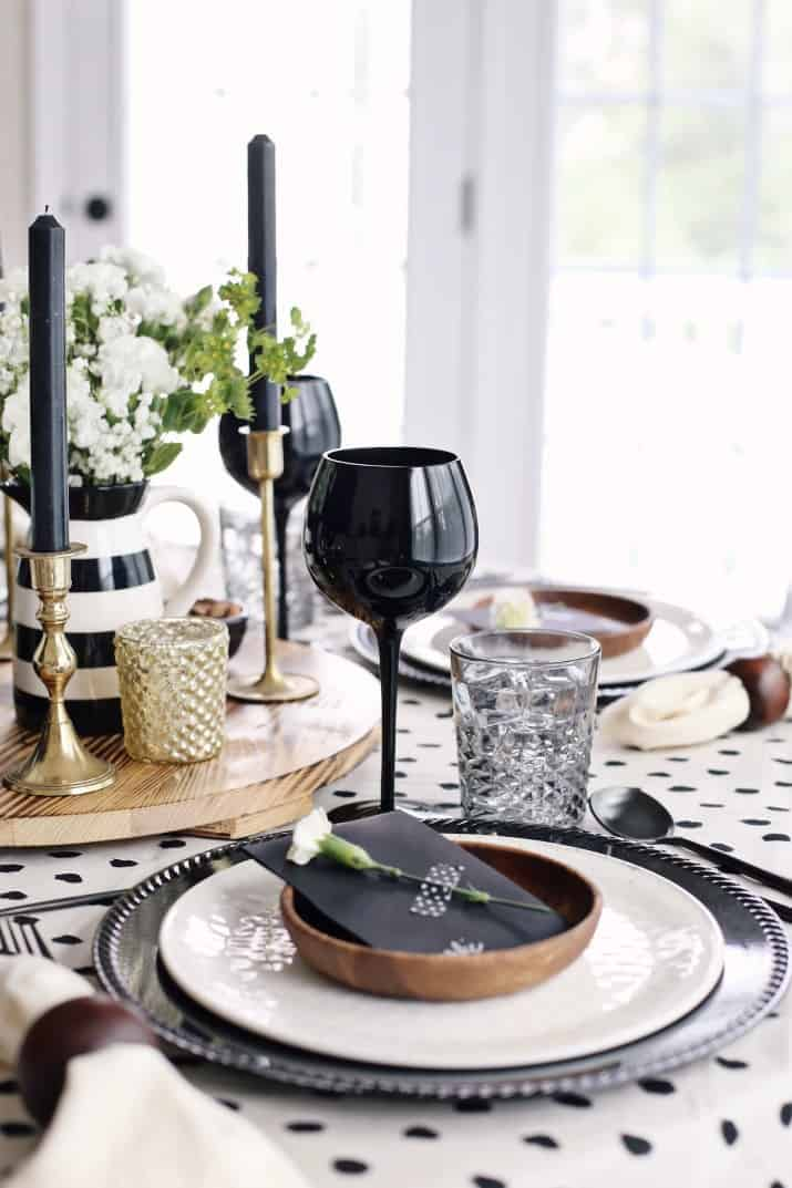 Fall Dinner Party Black & Tan Tablescape & Menu, table setting by window
