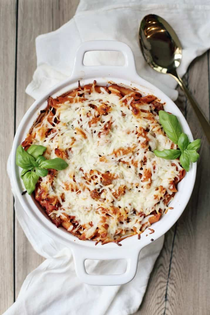 easy layered pasta bake, top view