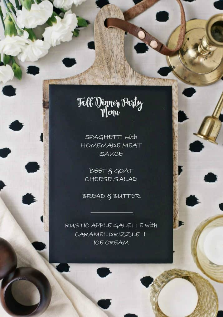 Fall Dinner Party menu card on wood board