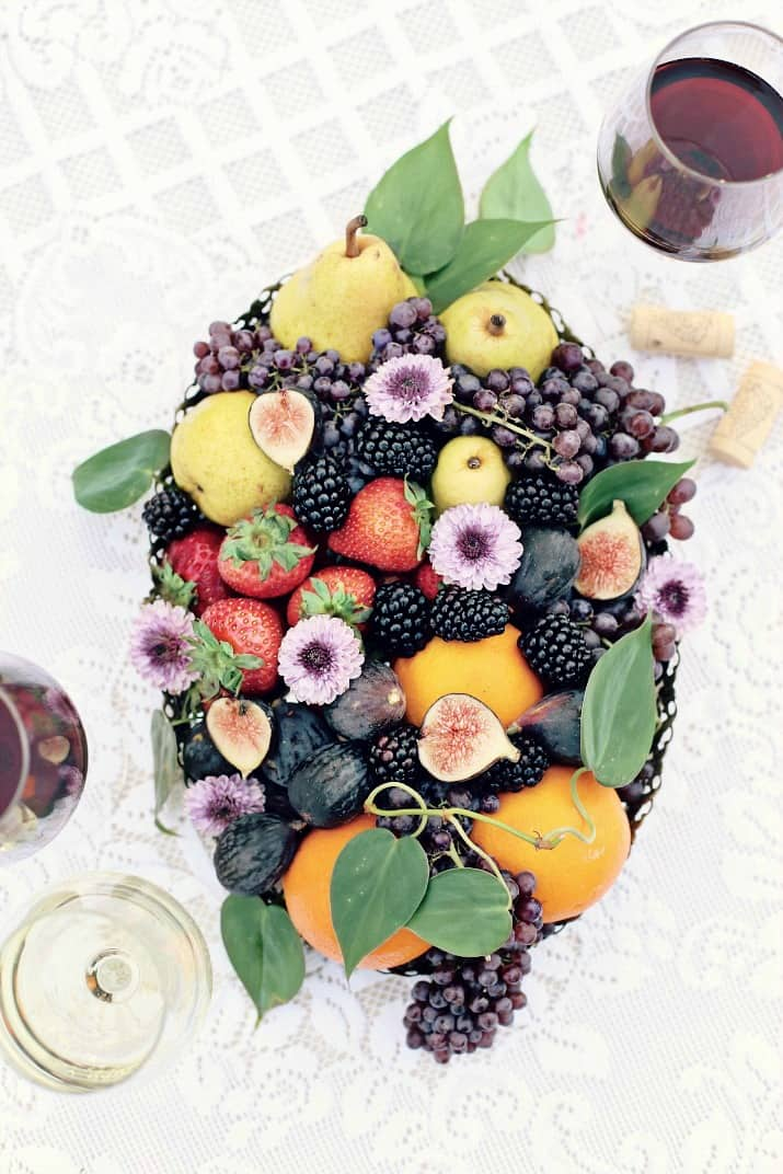 balsamic vinegar tasting bar, fruit tray centerpiece