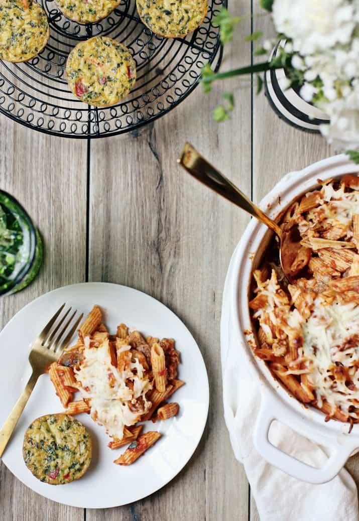 easy layered pasta bake on plate with veggie cake