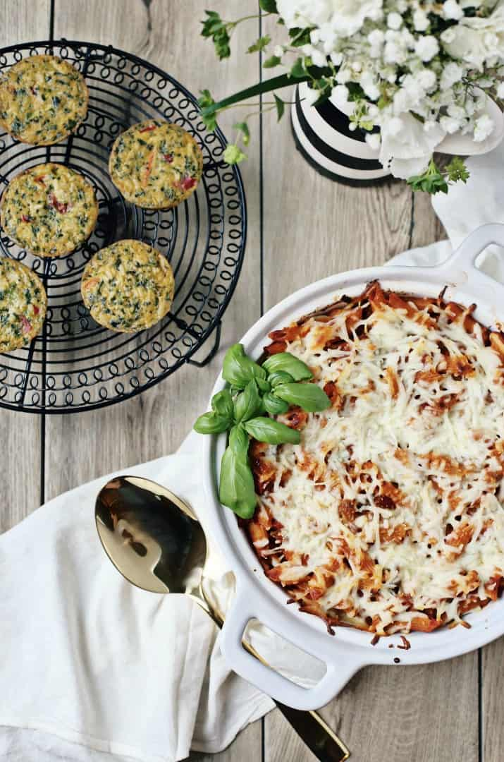 easy layered pasta bake and veggie cakes