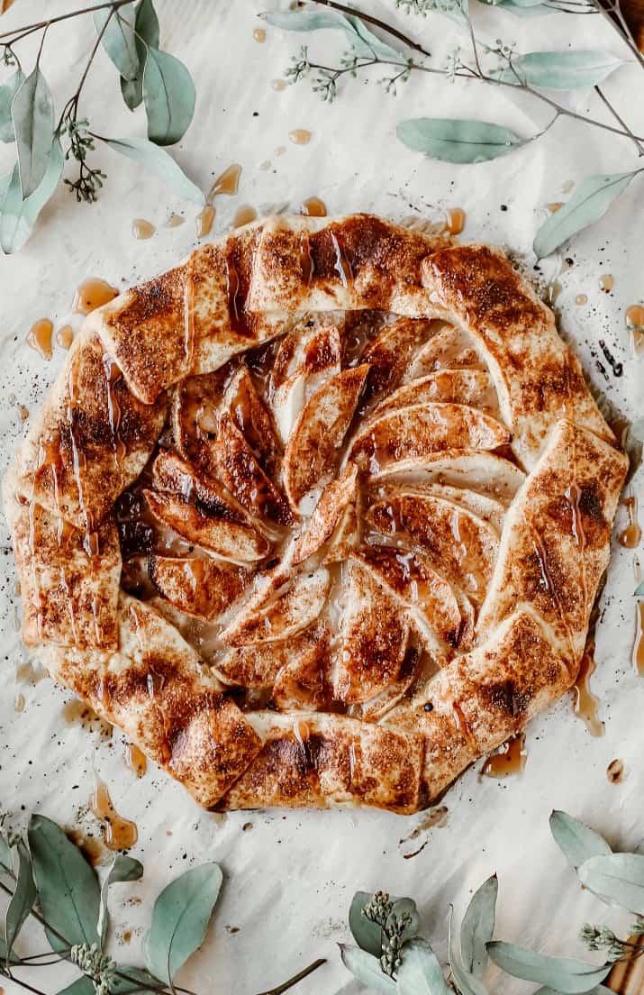 apple galette with caramel drizzle