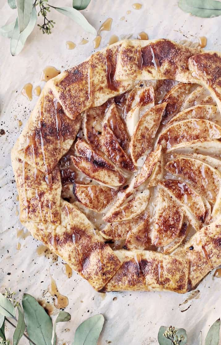 rustic apple galette with caramel drizzle dessert recipe