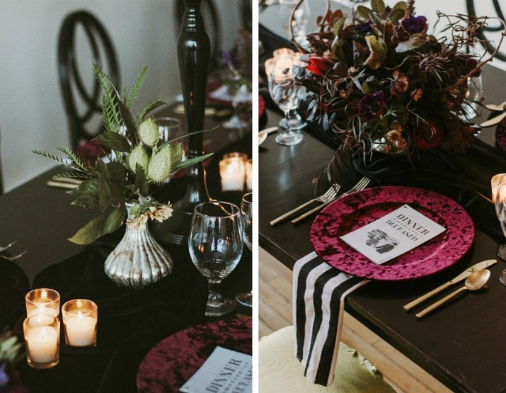 Elegant Beetlejuice Inspired Event Design tablescape details