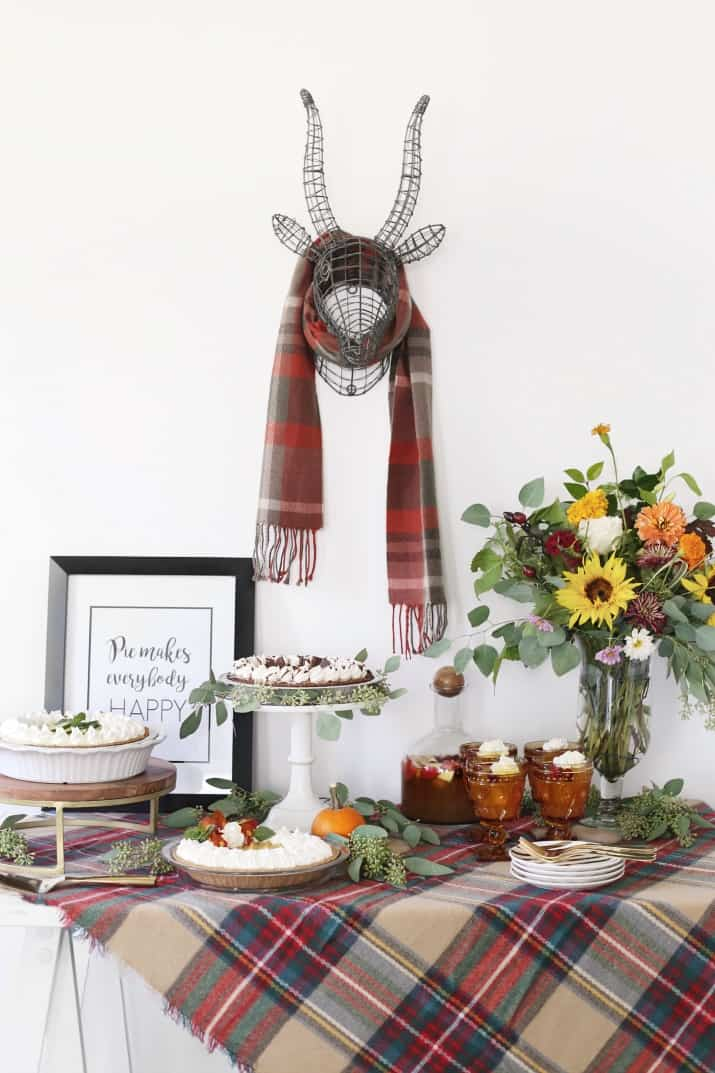 stylish pie bar for holiday entertaining, dessert table display