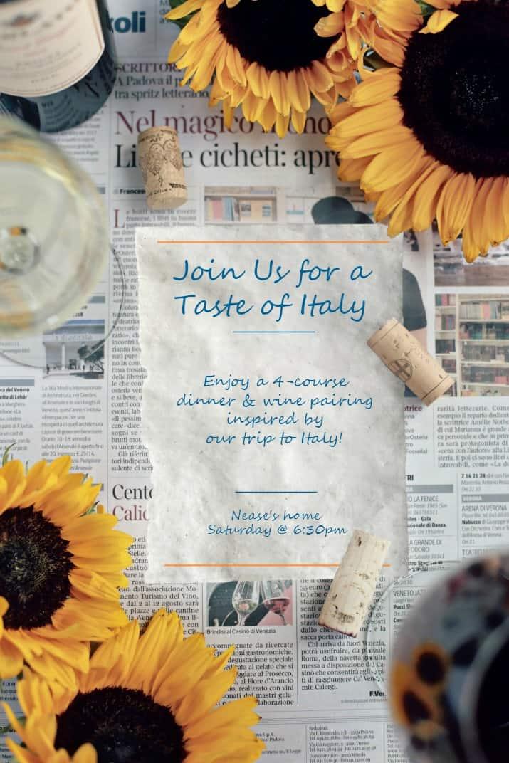 Italian themed dinner party invitation on Italian newspaper
