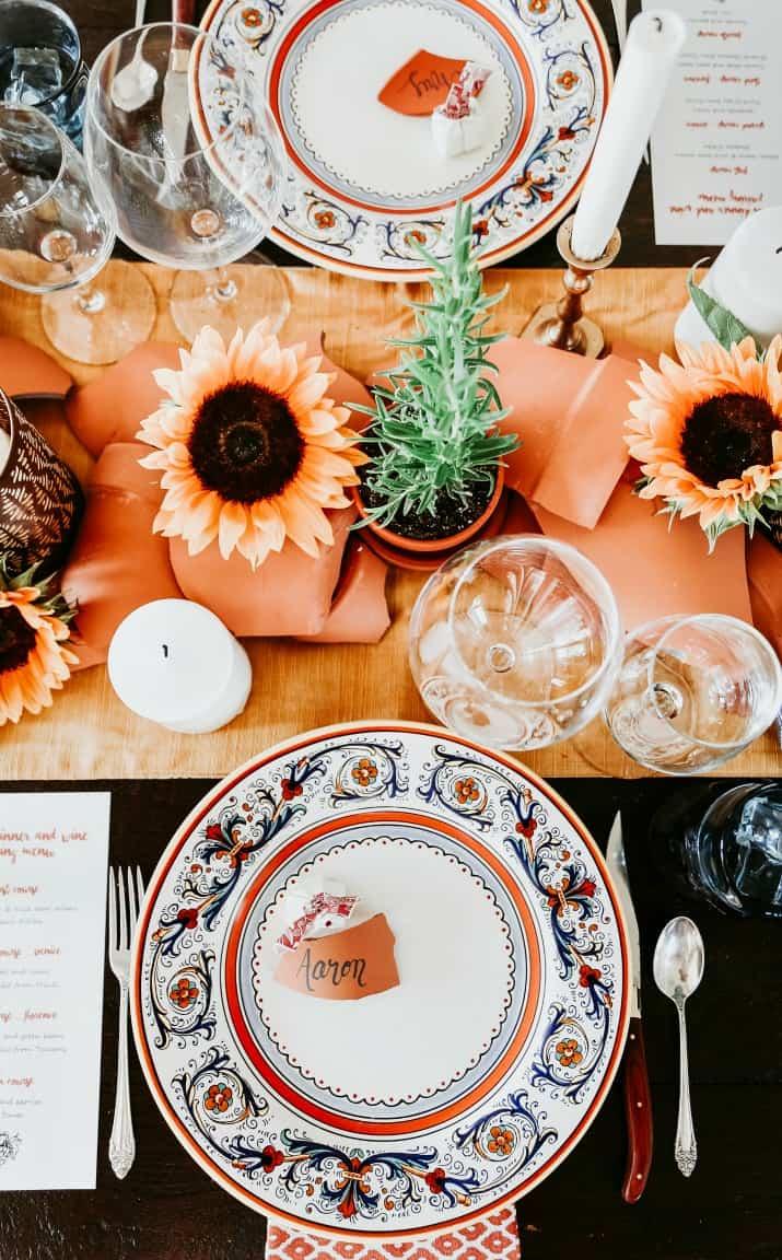 Italian table setting with Italian plates