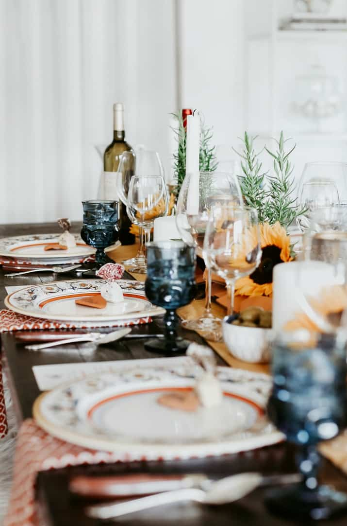 Italian dinner party menu and tablescape