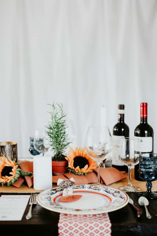 Italian theme table setting