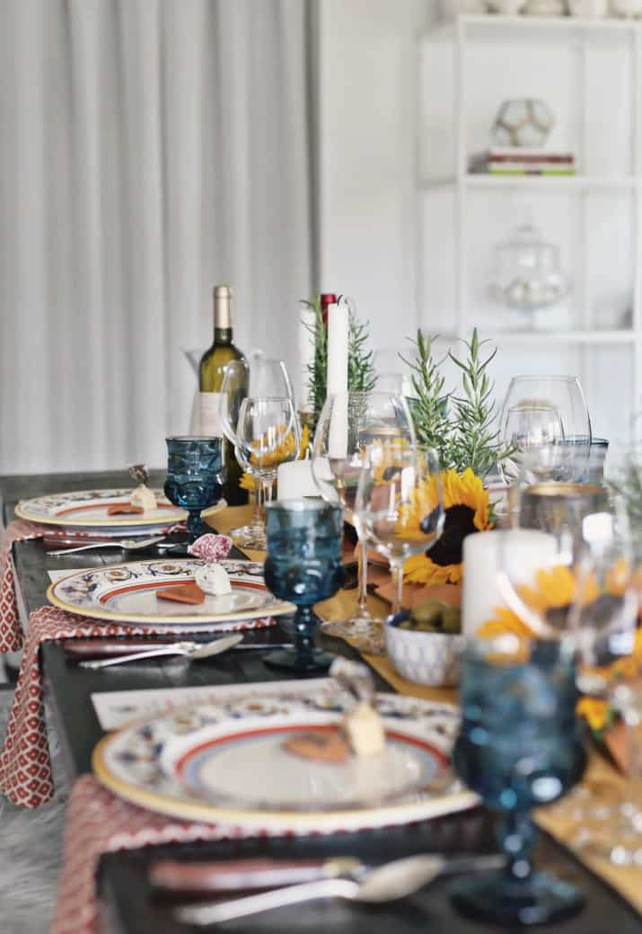 Italian themed dinner party & wine pairing tablescape design