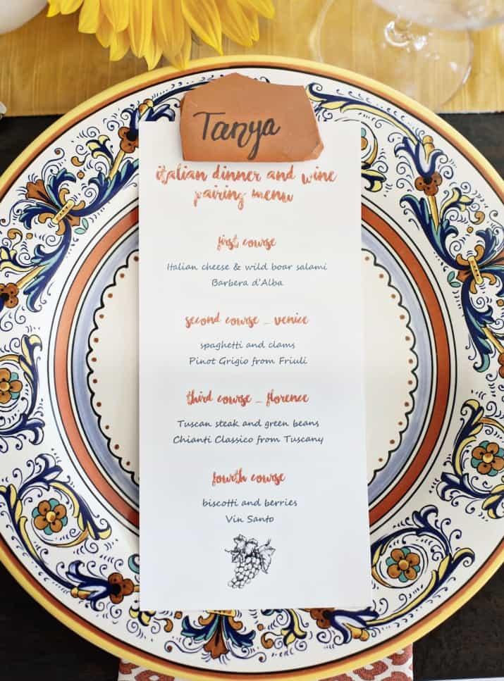 Italian themed dinner party & wine pairing menu