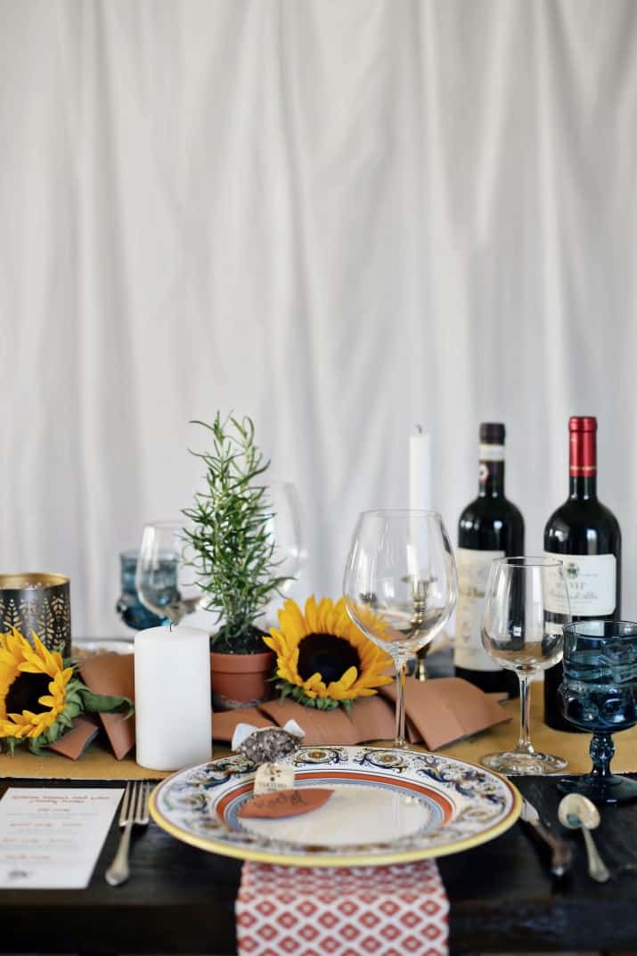 Italian themed dinner party & wine pairing tablescape with wine