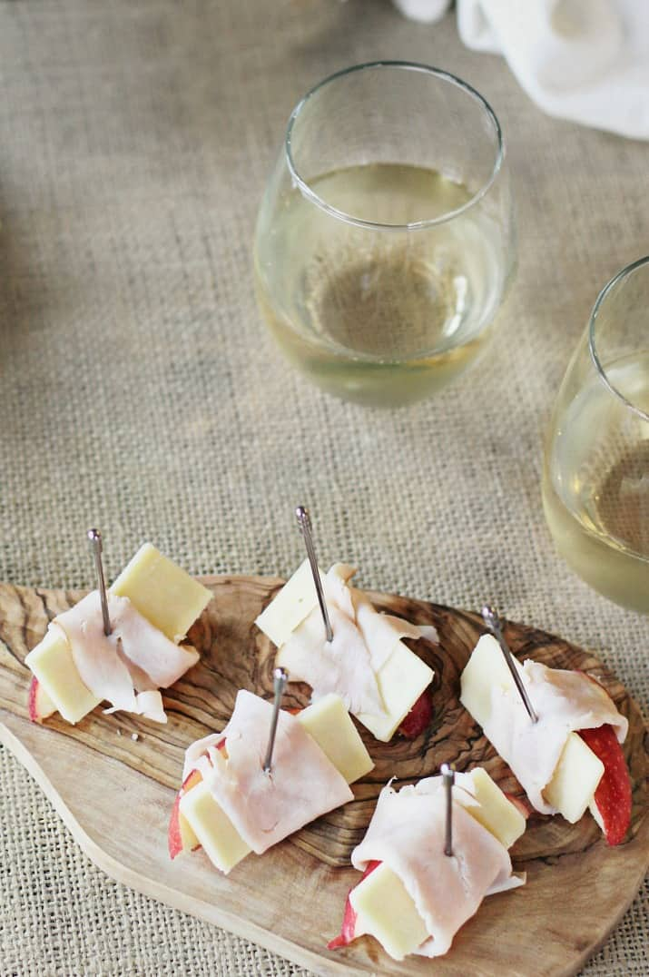 apple & cheese appetizers wrapped in turkey
