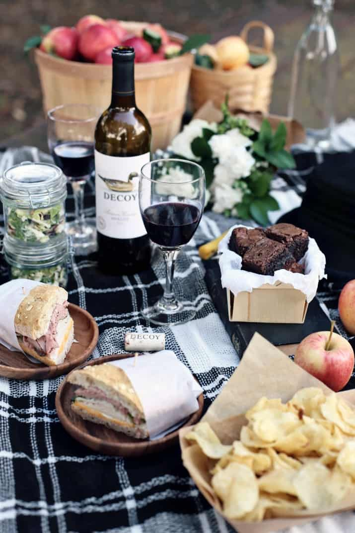 apple picking fall picnic with wine