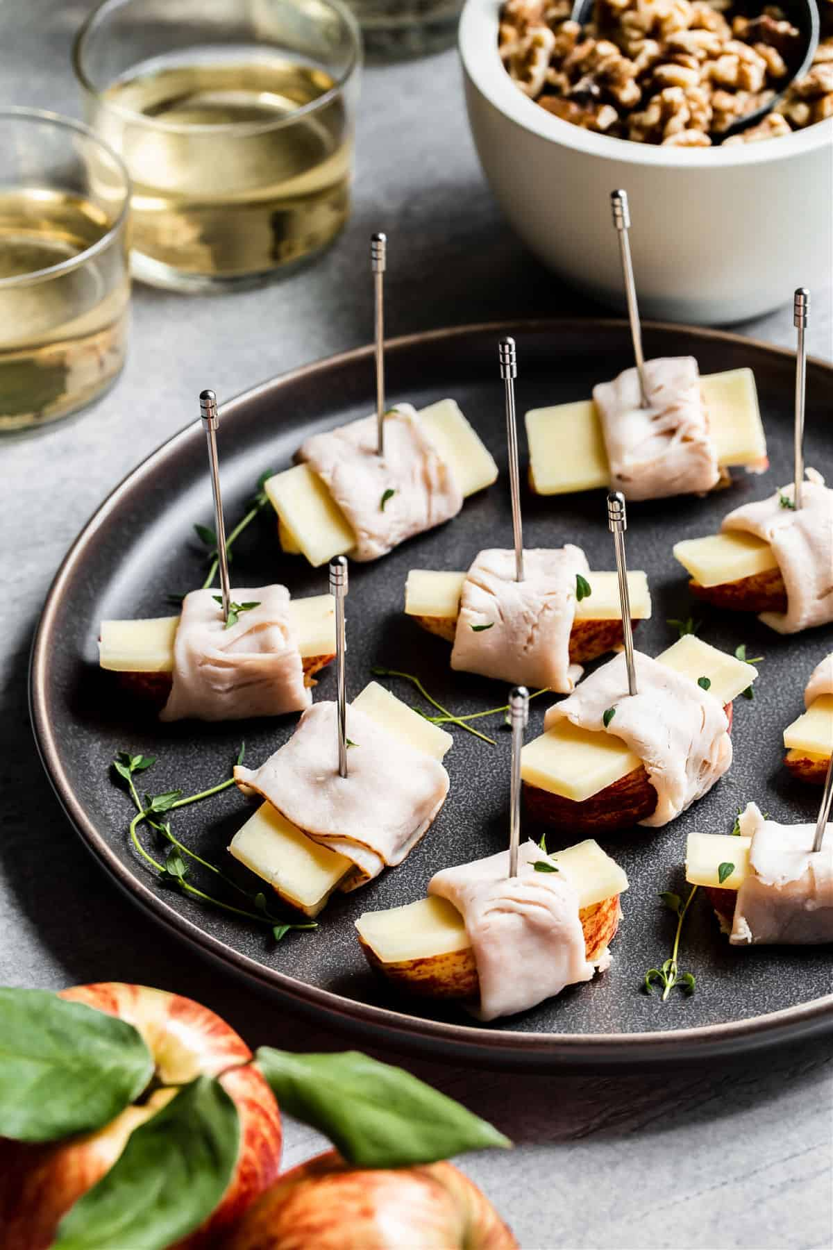 party appetizers on a dark platter