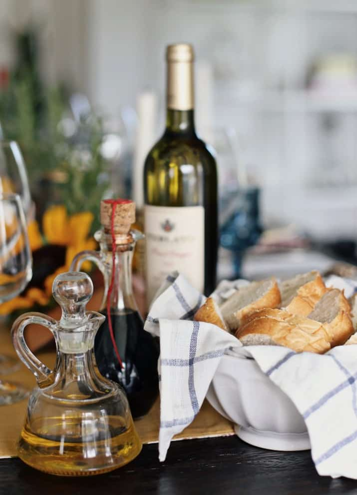 Italian themed dinner party & wine pairing, bread with olive oil