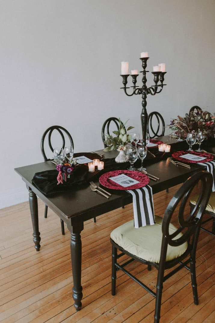 Beetlejuice inspired event design tablescape