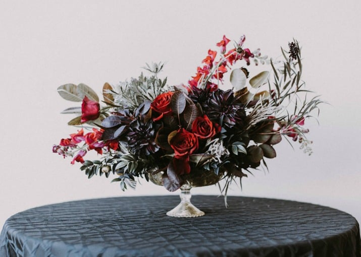 Elegant Beetlejuice Inspired Event Design flower centerpiece