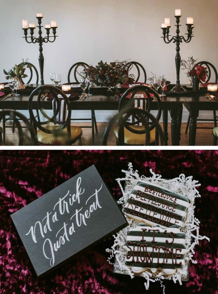 Elegant Beetlejuice Inspired Event Design tablescape and designer cookie favors