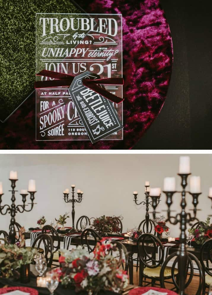 Elegant Beetlejuice Inspired Event Design tables and invitation
